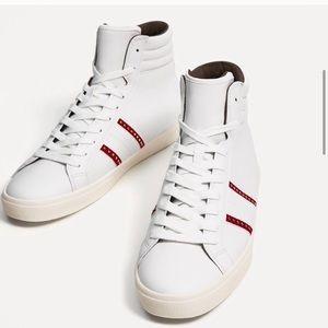 ZARA Man White High Top Sneakers